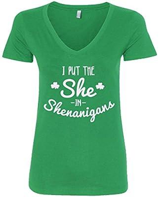 Threadrock Women's I Put The She In Shenanigans V-Neck T-Shirt
