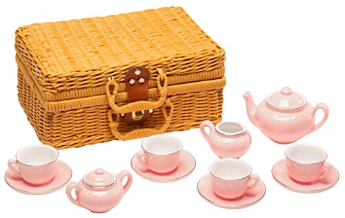MMP Living Children's 13 Piece Porcelain Play Tea Set with Wicker Style Basket - Pink (Set Tea Childrens Basket)