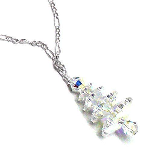 Snowy Austrian Crystal Christmas Tree Chain Necklace Sterling Silver ()
