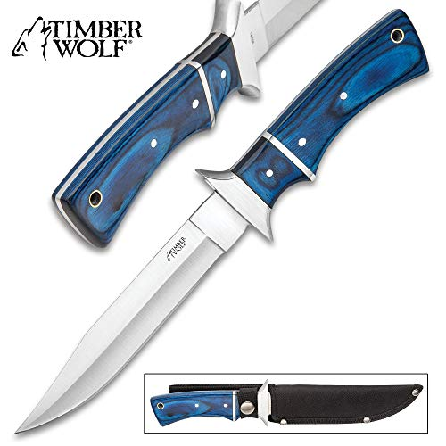 (Timber Wolf Blue Moon Fixed Blade Knife and Sheath - Stainless Steel Blade, Pakkawood Handle, Stainless Steel Accents, Lanyard Hole - Length 11