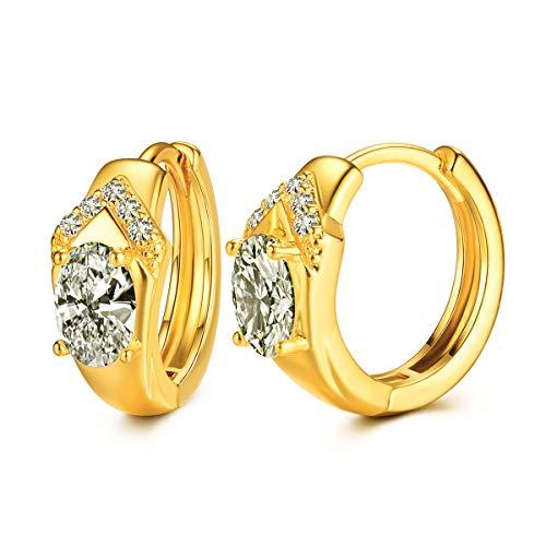 YIBA CZ Hoop Earrings with Cushion Cut Cubic Zirconia 24K White Gold Plated Ear Cuff Huggie Earrings Wonderful Gift Choice for Girls Women and Men ()