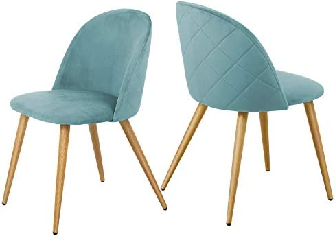 Kealive Dining Chairs Set of 2 Modern Velvet Accent Leisure Side Chairs Metal Leg
