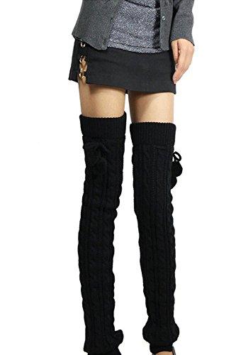 Invierno frío tiempo sólido mujer punto pata larga Black