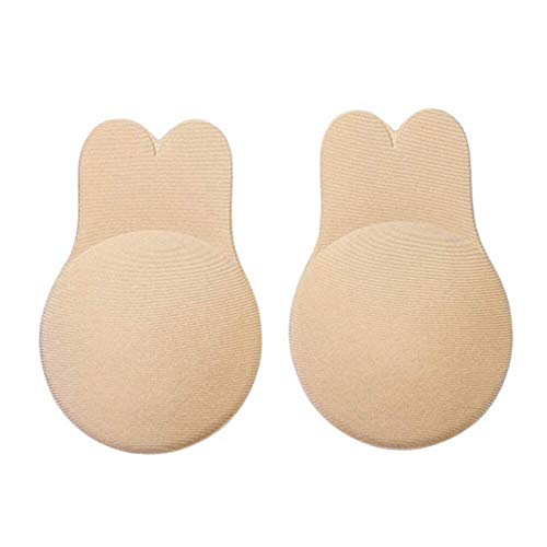 Breast Lift Up Bra Nipple Cover Adhesive Silicone Bra (2 Pairs) Nude