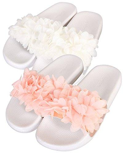 bebe Girls 2 Pack Open Toe Slide Sandals, White/Blush, 13-1 M US Little Kid' -