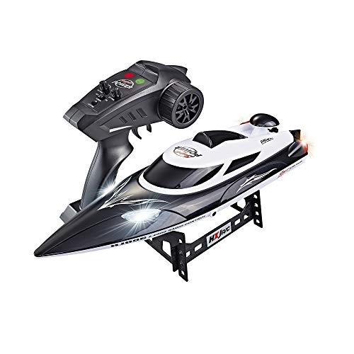 High-Speed RC Racing Boat 35KM/H Advanced 2.4GHz Pools Lakes and Outdoor Remote Control Boat for Adults & Kids,Color Black