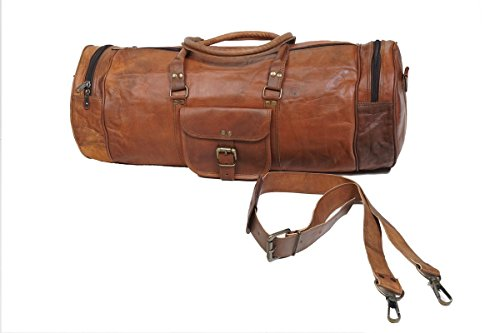 "Duffle Leather VH Vintage 26"" corsa di notte della borsa della palestra Weekend Bag Big Brown"
