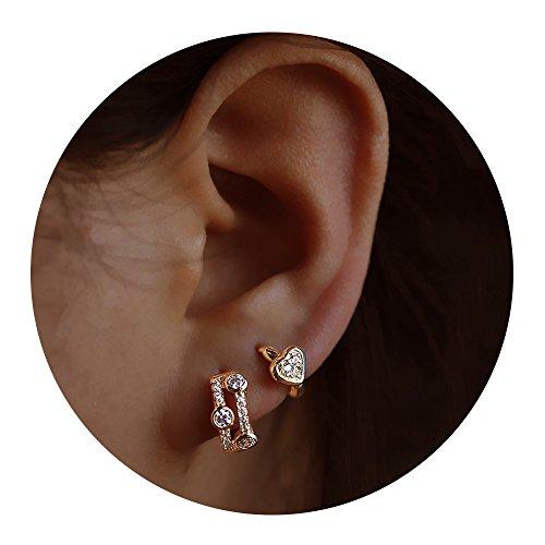 s For Women - Mini Cubic Zirconia Hoop Earrings Set ()