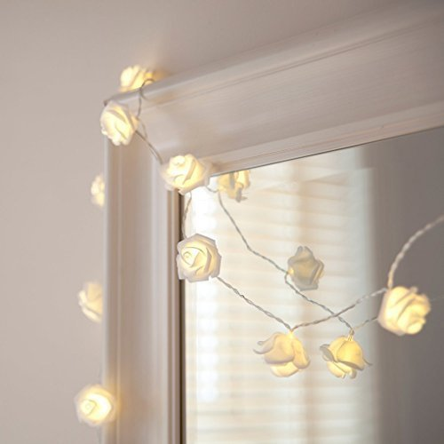 Zking 20 LED Battery Operated String Flower Rose Fairy Light