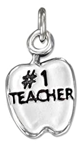 """Sterling Silver Apple with """"#1 Teacher"""" Charm"""