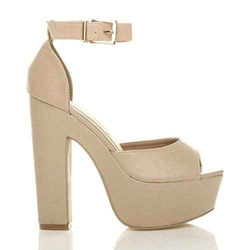 Chaussures Beige Talons Fête Pointure Sandales Ouvert Femmes Hauts Mat Compensées Bout m8w0vPNnyO