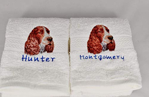 ENGLISH SPRINGER SPANIEL Dog Breed Luxury Spa Hand Towel or Golf Towel Embroidered Customized Full-Color with FREE Dog's Name Pet Lover Gift FREE SHIPPING