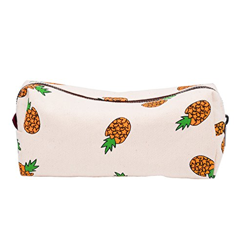 LParkin Teen Large Capacity Canvas Pencil Case Pen Bag Pouch Stationary Case Makeup Cosmetic Bag (With Pineapple A Pencil Special)