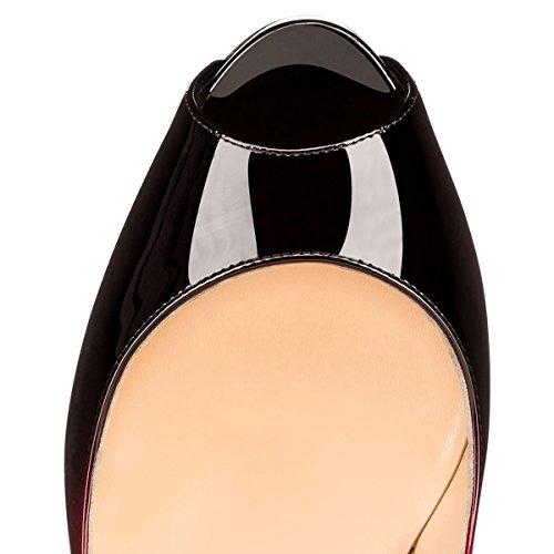 plateau con peep Rot verniciate tacco con in alto apertura con Und scarpe Onlymaker toe donna con con Schwarz punta stiletto da A8wqv7FnxU