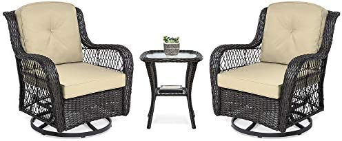 PHI VILLA Outdoor Patio Metal Extra Wide Relaxing Deep Seating Sofa Chairs and Side Table Set of 3 with Thick Cushions fit Porch, Garden, Backyard or Living Room