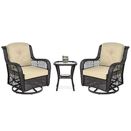 (Best Choice Products 3-Piece Patio Wicker Bistro Furniture Set for Outdoor, Garden, Deck w/ 2 Rocking Chairs, 360-Degree Swivel, Weather Resistant Cushions, Tempered Glass Top Side Table - Beige)