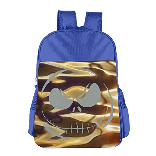 School Children's School Bag Toxic Scary Smiley Face Halloween Horror Style Cute Lightweight Backpack or Travel Bag Royalblue]()