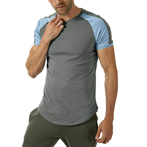 ?Men's Summer T-Shirt,Patchwork Short Sleeve Tops Casual Round Neck Blouse Color Block Tunic Casual Regular Fit Tee Gray