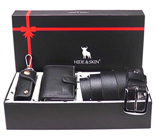 HIDE & SKIN Leather Men Card Holder, Belt, and Keychain Combo Gift Box