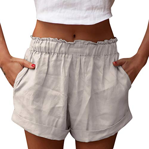 (Creazrise Womens Summer Comfortable Culottes Elastic Waist Wide Leg Pocket Casual Shorts Khaki)