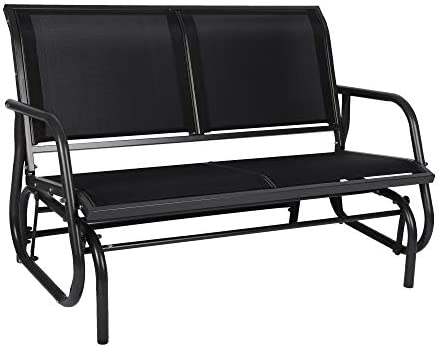 Outdoor Patio Swing Glider Bench-Loveseat Mesh Seating and Smooth Glide Rocker 2 Person Chair