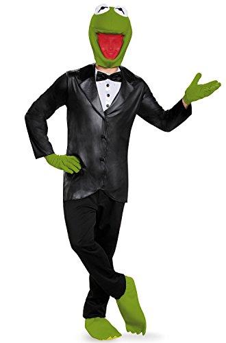 Disguise Men's Kermit Deluxe Adult Costume, Black/Green,