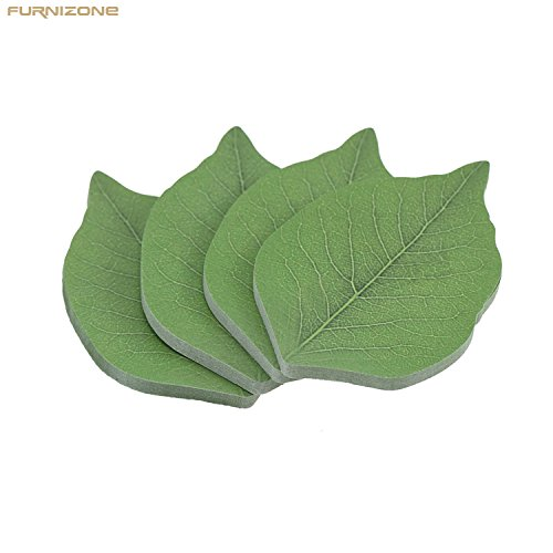 (FURNIZONE Leaf Sticky Notes, Cute Tree Leaf-Shape Paper Sticky Note, Recyclable Self-Stick Note Pads Memo Notes (4 Pads, 50 Sheets/Pad, 3.7 in x 2.6 in))