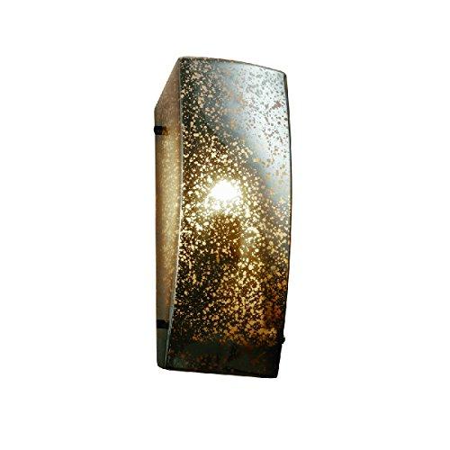 - Justice Design Group Lighting FSN-5135-MROR-DBRZ-LED1-1000 Fusion - Finials ADA Rectangle Wall Sconce - Dark Bronze - Mercury Glass - LED