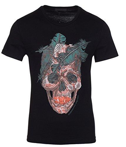 Alexander McQueen Men's Black Scull Print Crew Neck T-Shirt, Black, M