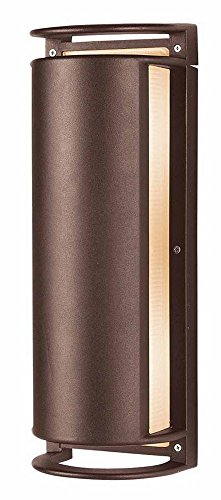 Access Lighting Poseidon Outdoor LED Bulkhead - Bronze Finish with Ribbed Frosted Glass Shade