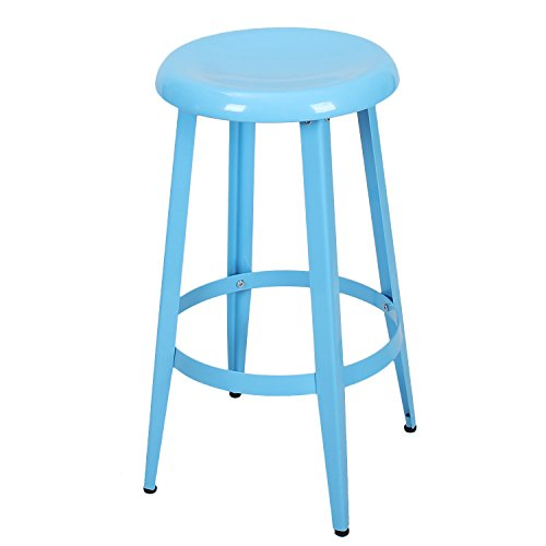 Joveco Blue Metal Stackable Round Top Backless 26 Inch Stool Wholesale Price Available