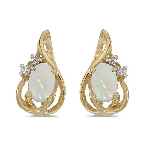 10k Yellow Gold Plated .38 ct Oval Opal 6x4mm Gemstone .04 ct Diamond Teardrop Shape Stud Earrings for Women ()
