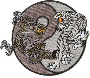 Dragons - Mystical Grey & Black Tiger and Dragon Yin Yang Logo Patch (Applique Tigers Logo)