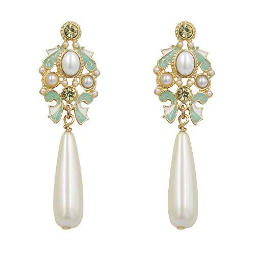 Long-Dangle-Earrings-For-Woman Luxury Fashion Peal Teardrop Pierced Ear Rings With Green Color Glaze