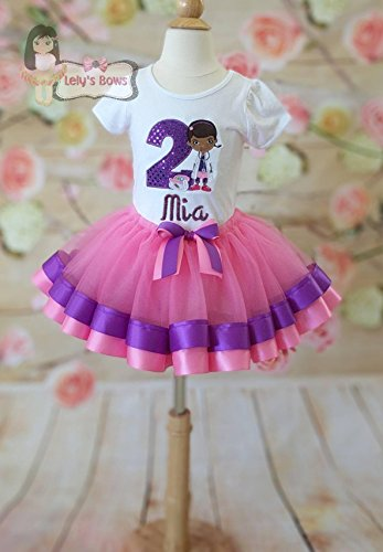 Personalized Doc McStuffins ribbon trimmed tutu set Doc McStuffins tutu ribbon trim tutu custom tutu Doc McStuffins birthday (Doc Mcstuffins Birthday Outfit)