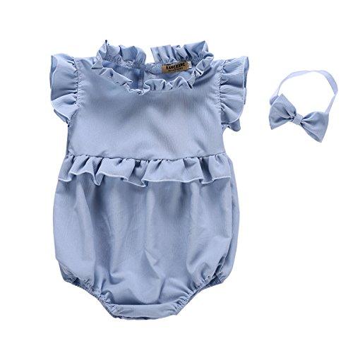 1ae8aec8698d BabiBeauty Twins Baby Girls Sleeveless Romper Infant Girls Ruffles Jumpsuit  Onesies with Headband