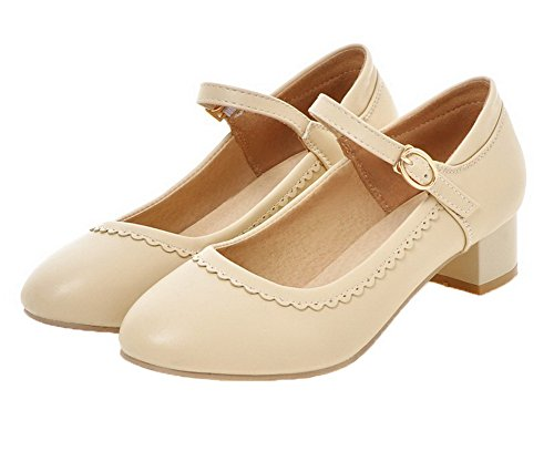 VogueZone009 Women's Round Closed Toe Buckle PU Solid Low-Heels Pumps-Shoes Beige zf1QM