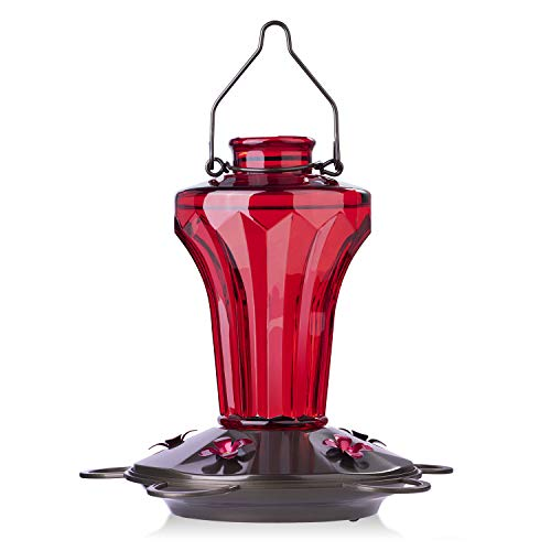 BOLITE 18018-R Hummingbird Feeder, Glass Hummingbird Feeder for Outdoors, Tower Shape Bottle, 19 Ounces, Red ()