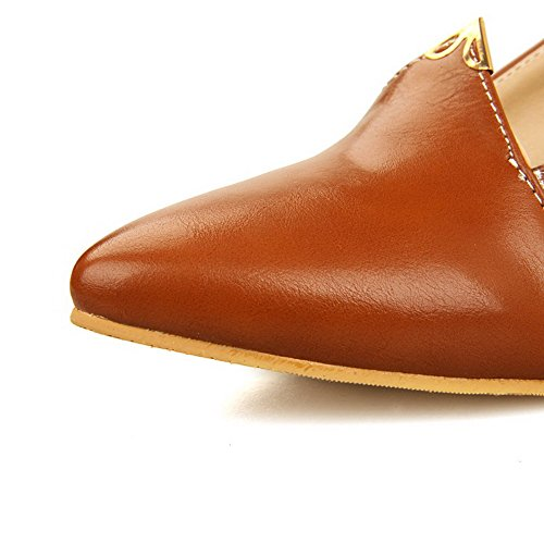 AllhqFashion Womens Soft Material Pull-on Closed Pointed Toe Kitten-Heels Solid Pumps-Shoes Brown smGXfm9Q