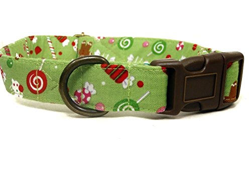 Very Vintage Designs Candyland -Green Candy Canes Cupcakes Gingerbread Men Winter Xmas Christmas Organic Cotton Pet Collar - Handmade in the USA