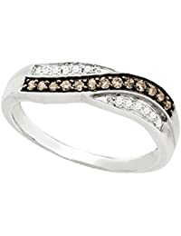 10K White Gold Brandy Diamond Chocolate Brown Crossover Lovely Band Ring 1/4 Ctw.