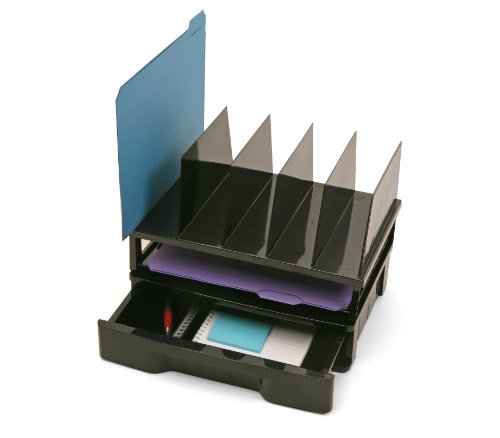 Officemate Recycled Drawer with Letter Tray and Vertical Sorter, Black (26095) (Sorter Vertical Plastic)