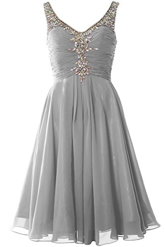MACloth Women V Neck Crystal Short Homcoming Dress Cocktail Party Evening Gown Plateado