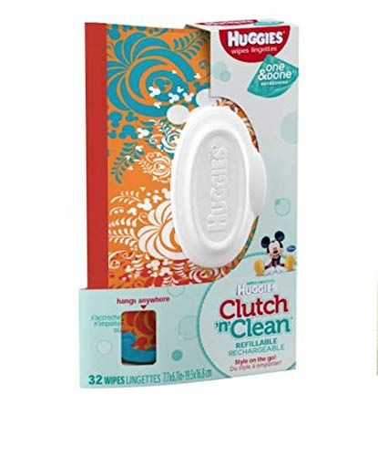 HUGGIES Natural Care Unscented Baby Wipes, Sensitive, Water-Based, 1 Clutch 'N' Clean Refillable Travel, 32 Count Total