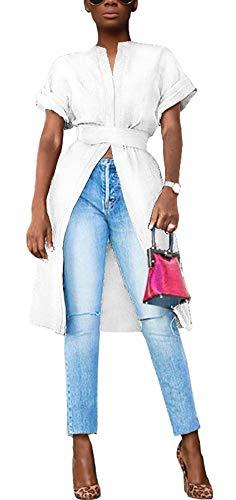 Womens Short Sleeve High Low Front Split Short Shirt Mini Dress White-2 L