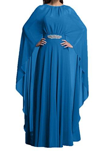 mit Blau Dunkel Brautmutterkleider Blau Charmant Stola Lang Abendkleider Damen Chiffon Partykleider TRxnS0wq