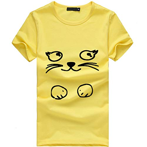 - Sunhusing Ladies Funny Cute Kitten Pattern Short Sleeve T-Shirt Casual Print Loose Joker Top Yellow