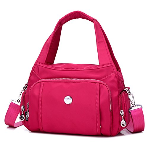 Crossbody Bag for Women Hobo Totes - Nylon Waterproof Purse Lightweight Shoulder Travel Handbag (Hot Pink) by Cloth Shake