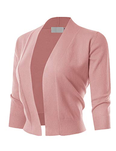 (MAYSIX APPAREL 3/4 Sleeve Solid Open Bolero Cropped Cardigan For Women DUSTYPINK L)