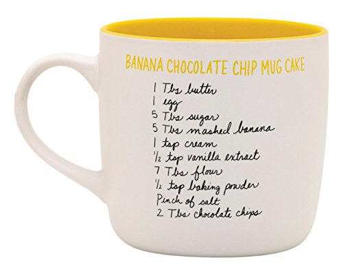 Banana Chocolate Chip Cake Recipease Gift Mug by About Face Designs - 12 Oz - MUG method - Bakes cake in Mug!